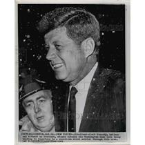 1921 Wire Photo President Kennedy Stands Outside His Washington Home