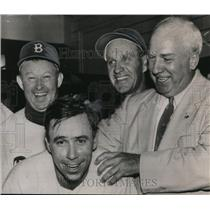1953 Press Photo Warren Giles, Brooklyn's Pewee Reese, Chuck Dressen, Slaughter