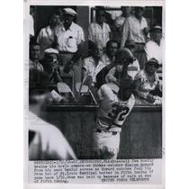 1956 Press Photo Yankee Elston Howard catches foul from Cardinal in Florida game