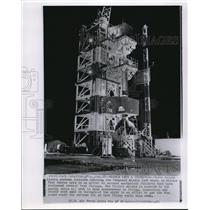 1958 Wire Photo Workmen preparatory test on Vanguard Missile before launch