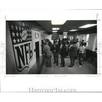1987 Press Photo Brown fans in line for refunds on cancelled games in Stadium