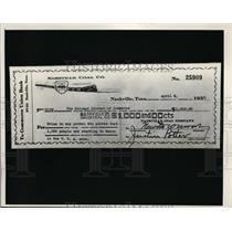 1935 Press Photo Nashville Coal Company Pay check  - nee86543