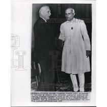 1954 Wire Photo Canada Prime Minister St. Laurent & India Prime Minister Nehru