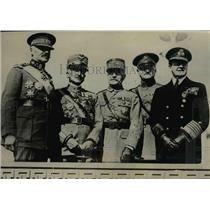 1929 Press Photo Gen. Jacques, Gen. Diaz, Marshal Foch, Pershing and Beatty