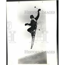 1985 Press Photo Scott Lambert, 15, of Burton does a back scratcher jump