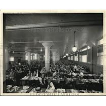 Press Photo Richman family in factory cafeteria at lunch - cva73869