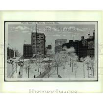 1932 Press Photo The View Of Public Square in Winter at Cleveland Ohio