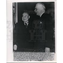 1953 Wire Photo Louis St. Laurent and Prime Minister Shigeru Yoshida of Japan