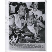 1956 Wire Photo Norman Westfall with mother won 19th annual Soap Box Derby