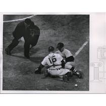 1955 Press Photo Indians Foiles & Lepcio of Red Sox at home plate - nes41341