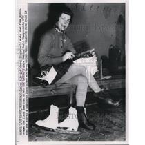 1953 Press Photo Tenley Albright skate star from Boson at World Championship