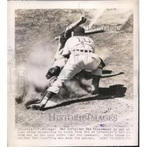 1948 Press Photo Reds Ted Kluszewski out at home vs Cubs Bob Scheffing