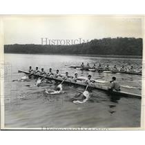 1936 Press Photo Columbia crew workout on Hudon river Poughkeepsie NY