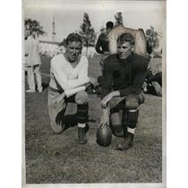 1933 Press Photo Navy football coach Edgar Miller & Captain Hugh Murray