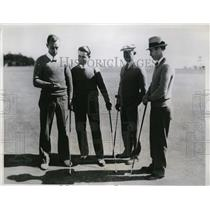 1934 Press Photo Ted Turner, John Capello, John Given, Eric Nelson golfing