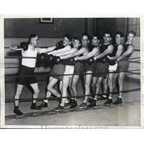 1935 Press Photo U of PA boxers coach Decker, Mel Evans, Harry Rubin - nes42005
