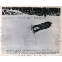 1953 Press Photo Arthur Tyler pilots bobsled at Lake Placid NY - nes43489