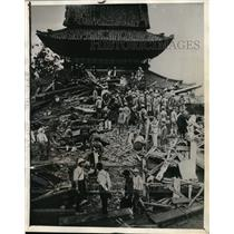 1934 Press Photo rescuers search Shitennoji Temple rubble after Muroto Typhoon
