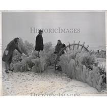 1940 Press Photo girls admiring winter's handiwork at Chicago's lakefront