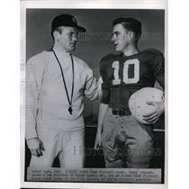 1955 Press Photo Notre Dame football coach Terry Brennan & Frank Leahy Jr