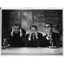 1960 Press Photo Jack Paar Hugh Downs & Jose Melis in The Jack Paar Show