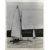 1938 Press Photo Iceboats on Eagle Lake in Bar Harbor Maine - nes44572