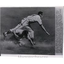 1946 Press Photo Marty Marion of Cardinals Straddles Sliding Red Sox Tom McBride