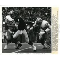 1986 Press Photo Bears QB Jim McMahon vs Lions Keith Ferguson, William Gay