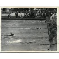 1932 Press Photo Takash Yokoyama winning the 400 Meter Free Style, L.A. Olympics