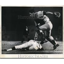 1969 Press Photo Tulsa catcher Ted Simmons tags Ron Clark of Denver Bears