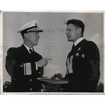 1940 Press Photo Annapolis MD Midshipmen Allen Bergner & Admiral Wilson Brown