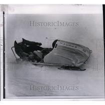1961 Press Photo Erik Kohn in bobsled at Lake Placid NY driver Gunnar Garpo