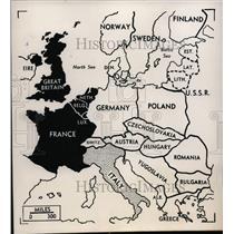 1948 Press Photo Map of Union of Western Europe & anti communist block nations