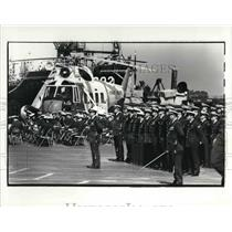 1981 Press Photo US Coast Guard troops at parade rest during ceremony