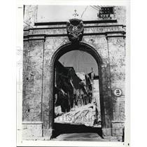 Press Photo L'Aqulawith its Porta di Bazzauo is the capital of Abruzzi