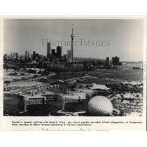 1987 Press Photo Toronto Dyanmin Skyline with Ontario Place, Canada - cva22851
