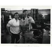 1911 Press Photo Al Kuber and Brother Ken Luber at Industrial Grinders Co.