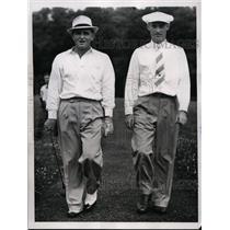 1938 Press Photo Denny Shute, Clyde Usina Jr. on 14th green, PGA Championship