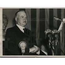 1936 Press Photo Former President Herbert Hoover Speaks Lincoln Day Banquet