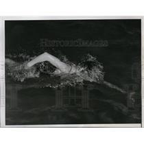 1937 Press Photo Leonard Millen at Interscholastic swim meet 50 yard freestyle