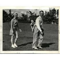 1938 Press Photo Denny Shute, Wife & daughter Nancy at Coral Gables Fla