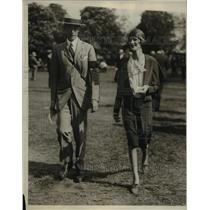 1929 Press Photo Mr Appleton Jr. and Mrs.W.Tilden P Hazzard at Belmont Park