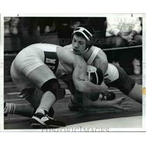 1992 Press Photo Anthony Ranallo (Top) rapples with Ed Pollock  - cvb57611