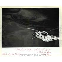 1982 Press Photo Coast Guard Copter Checks Oil Spill in Columbia River