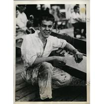 1934 Press Photo Thomas Tyson breaks record in Class A Outboard race - nef01234