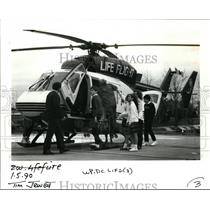1990 Press Photo Students Climbed Inside the Life Flight Helicopter for Tour