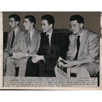 1951 Press Photo Bob Zawoluk, Ronnie McGilvray, Jack McMahon St Johns basketball