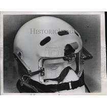 1953 Press Photo Slots in a new style flying helmet are supposed to reduced wind