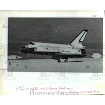 1982 Press Photo Jack P. Lousma, Space Shuttle Columbia on Ground Nose Up