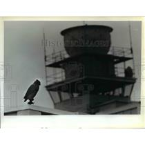 1981 Press Photo Bogus rubber owl atop jetway at Northwest Orient Airlines